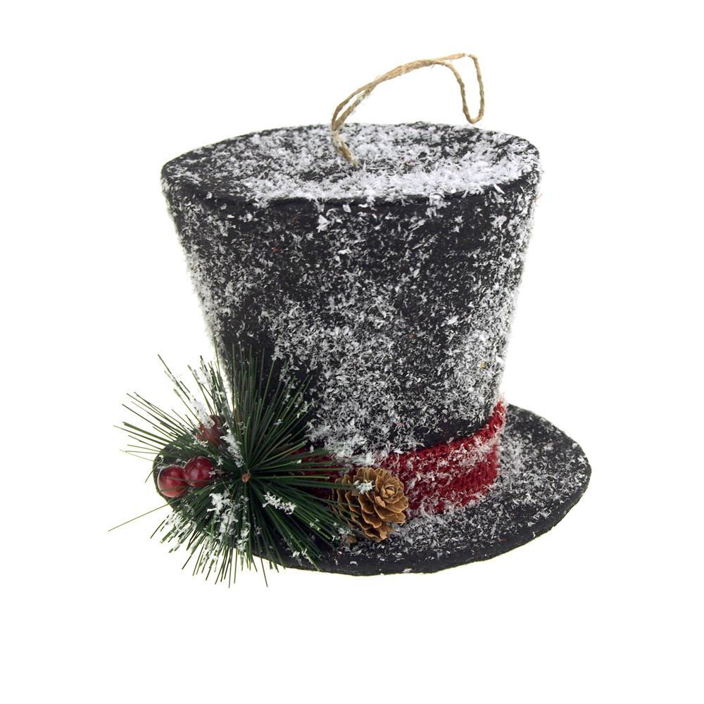 black hanging top hat with snow christmas decoration 5 inch - Top Hat Christmas Decorations