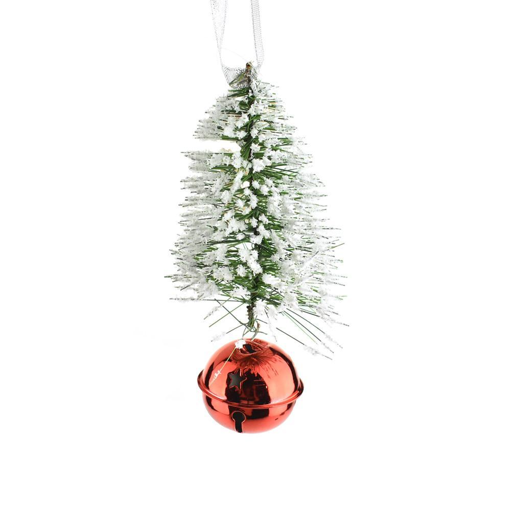 Snowy Bottle Brush Christmas Ornament with Red Bell, Green, 6-1/2-Inch