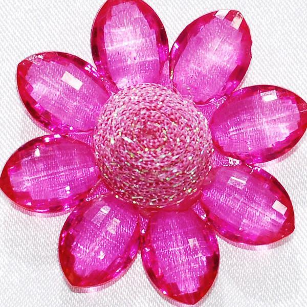 Sunflower Acrylic Crystal Flower, 1-3/4-inch, 6-Piece, Fuchsia
