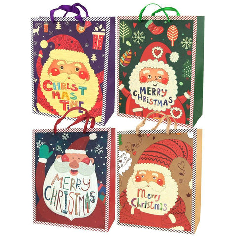 Christmas Santa Glitter Gift Bags, 12-1/2-Inch, 4-Piece