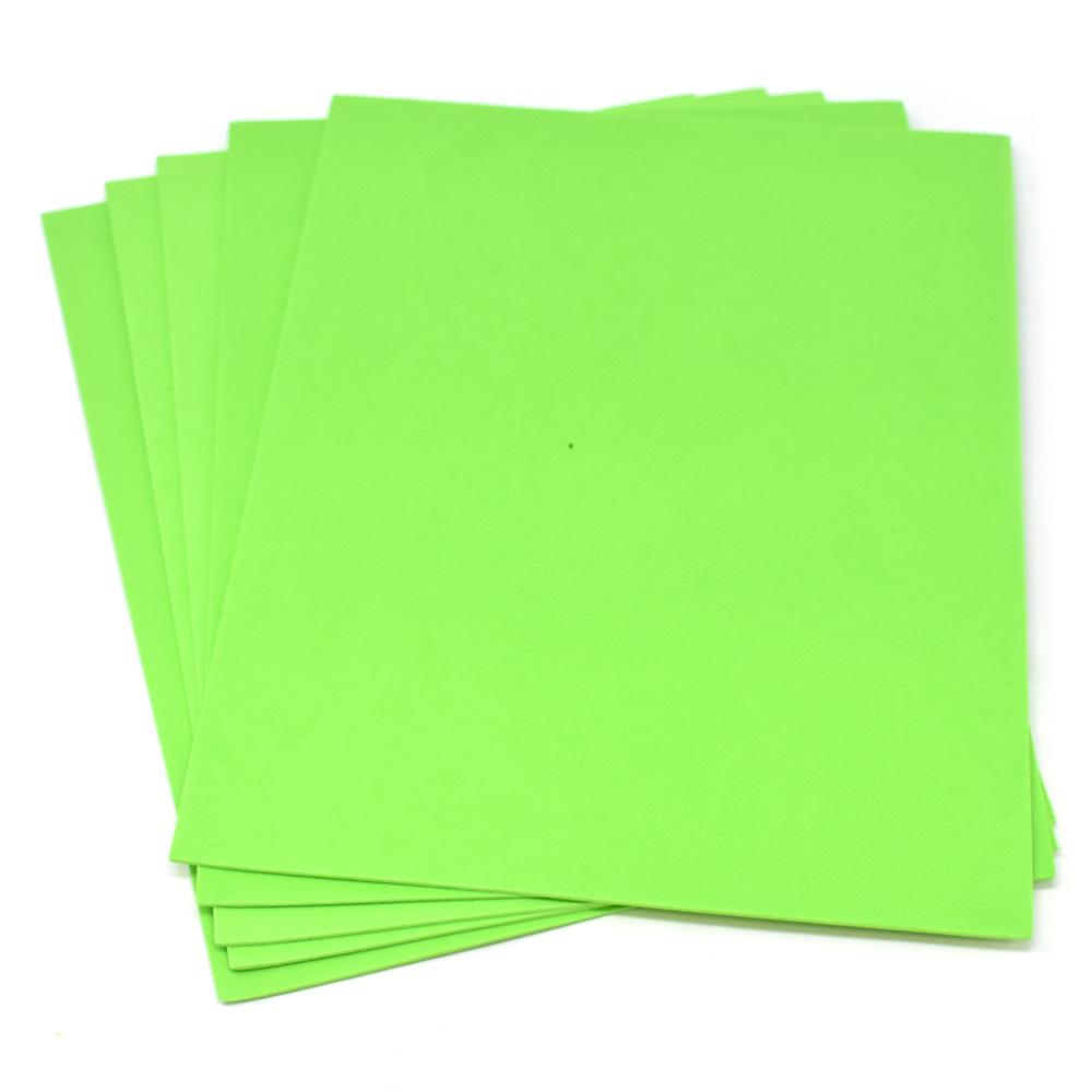 Plain EVA Foam Sheets, 9-Inch x 12-Inch, 5-Piece, Neon Green