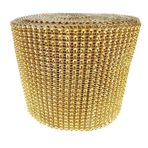 Rhinestone Diamond Wrap Ribbon, 4-3/4-Inch, 10 Yards, Gold