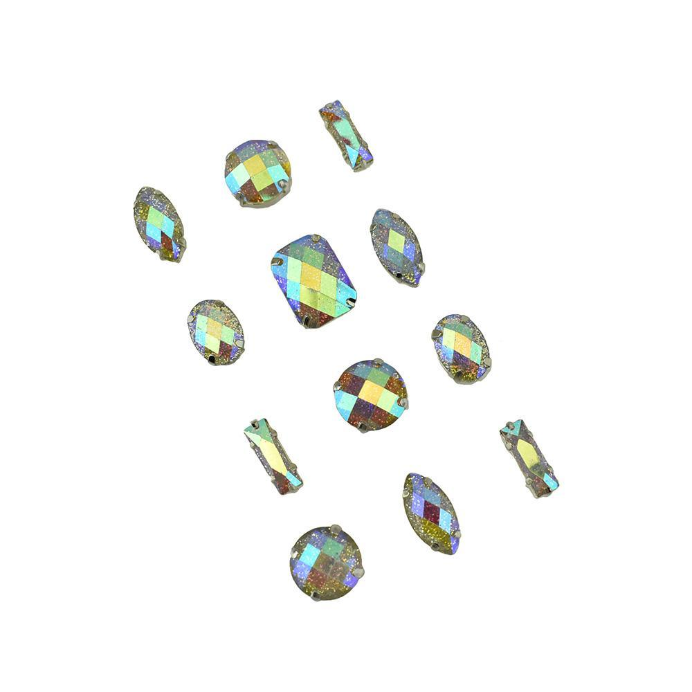 Iridescent Geometric Gem Stickers, Assorted Sizes, 12-Piece