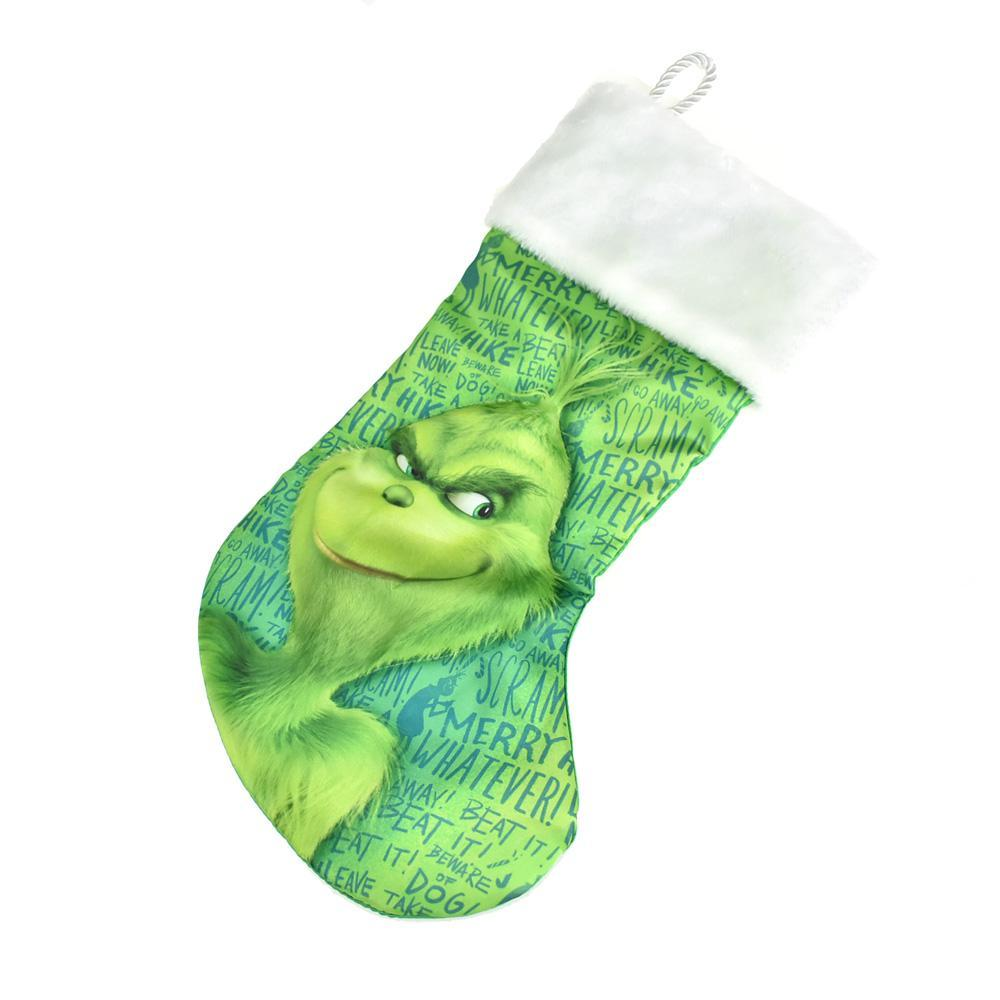 Grinch White Cuffed Printed Stocking, Green, 18-Inch