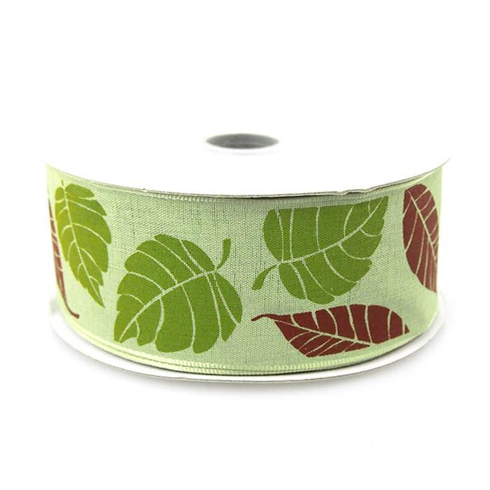 Leaves Poly Ribbon Wired Edge, 1-1/2-inch, 10-yard, Green