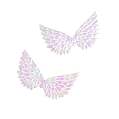 Holographic Embossed Angel Wing Party Favor Embellishments, 1-1/2-Inch, 6-Count