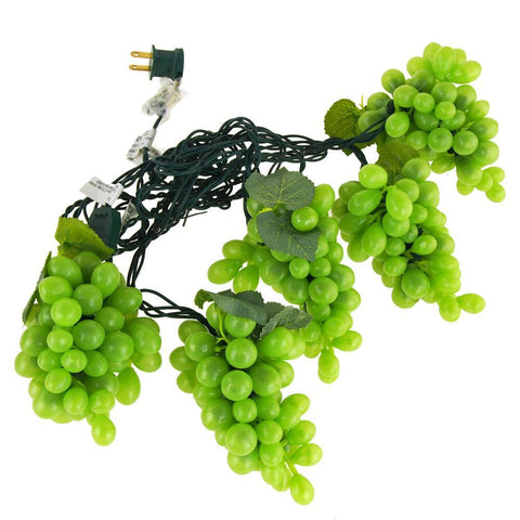 Plastic Grapes Christmas String Lights, Green, 8-Inch, 100 LED