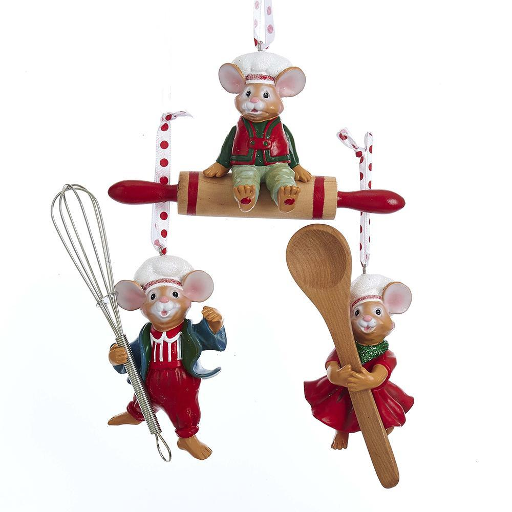 Christmas Mice with Cooking Utensil Ornaments, 3-Piece