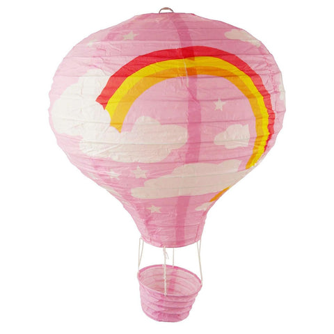 Rainbow Paper Hot Air Balloon Hanging Decor, 15-Inch, Light Pink