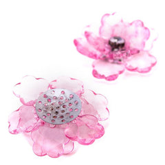 Flower Lotus Crystal, Shredded Edge, 1-3/4-inch, 6-Piece