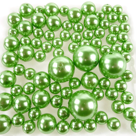 Assorted Plastic Pearl Beads, 14mm, 20mm, 30mm, 84-Piece, Apple Green