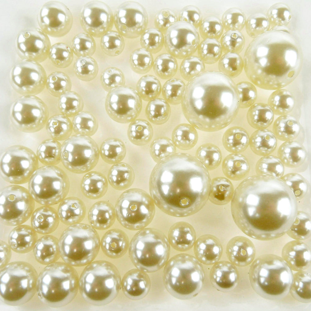 Assorted Plastic Pearl Beads, 14mm, 20mm, 30mm, 84-Piece, Ivory