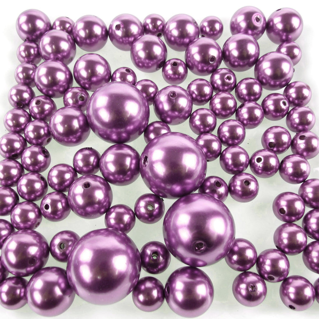 Assorted Plastic Pearl Beads, 14mm, 20mm, 30mm, 84-Piece, Purple