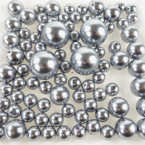 Assorted Plastic Pearl Beads, 14mm, 20mm, 30mm, 84-Piece, Silver