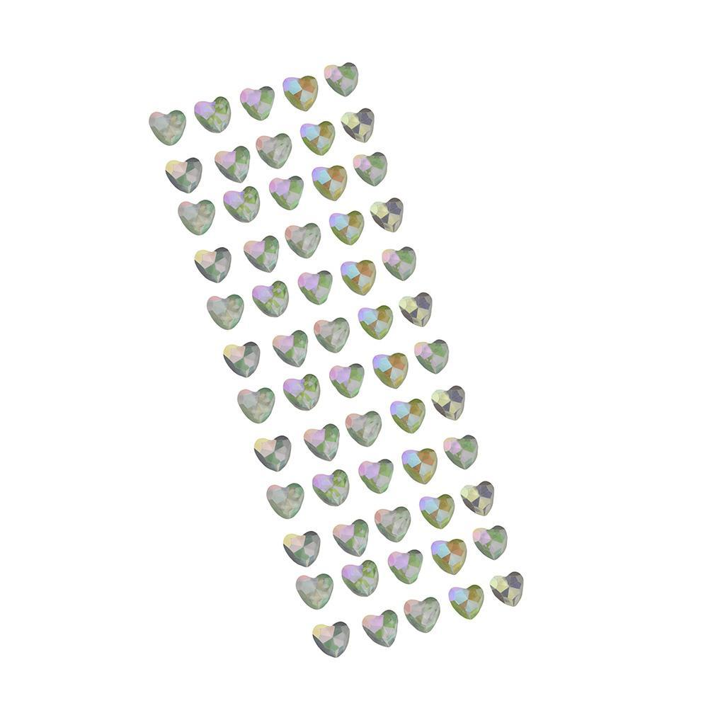 Iridescent Heart Stone Stickers, Clear, 5/8-Inch, 60-Count