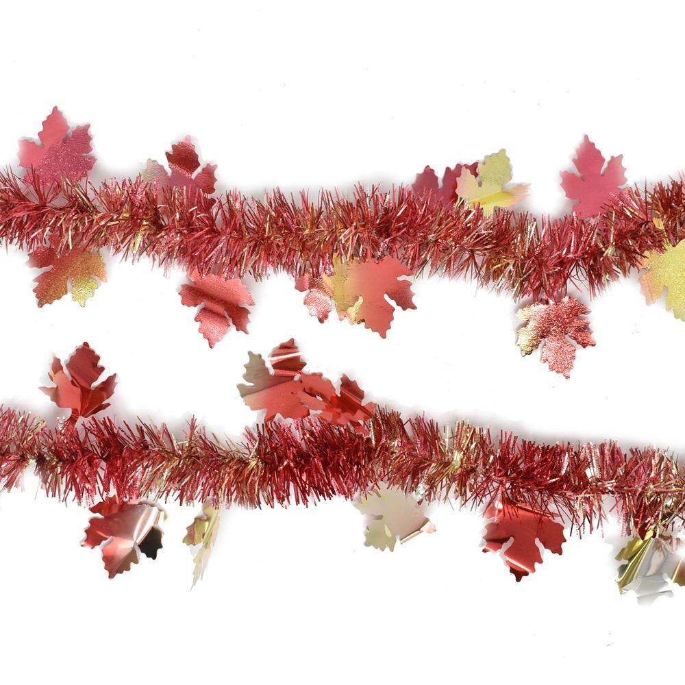 Fall Tinsel Garland With Maple Leaves, 9-Feet, 2-Piece