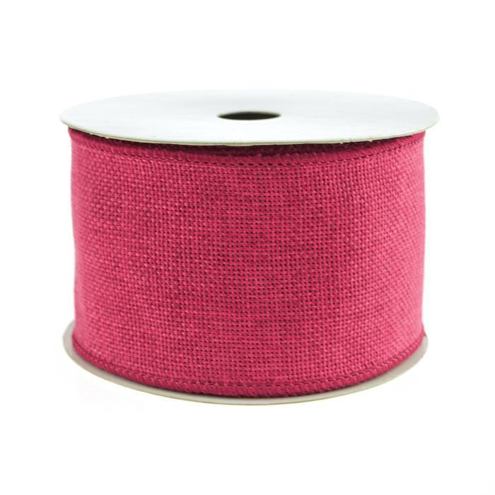 Faux Burlap Wired Edge Ribbon, 2-1/2-inch, 10-yard, Hot Pink