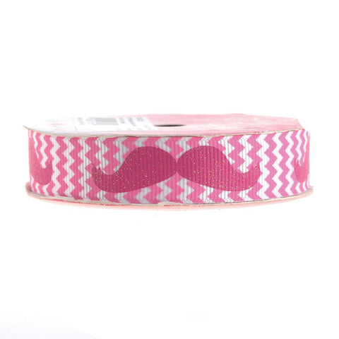 Glitter Mustache Chevron Grosgrain Ribbon, 7/8-inch, 3-yard, Hot Pink
