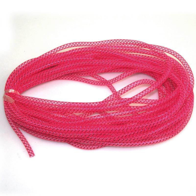 Solid Mesh Tubing Deco Flex Ribbon, 8mm, 10 Yards, Hot Pink