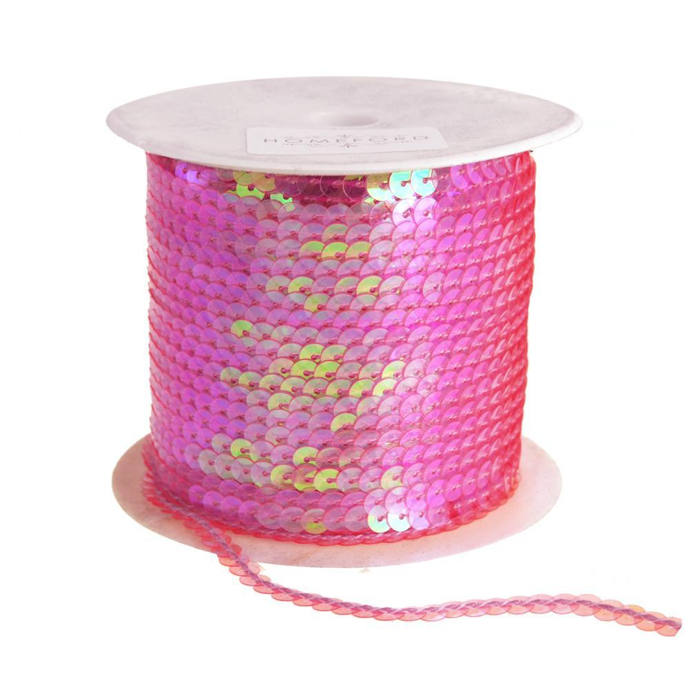 Metallic Sequins Ribbon, 1/4-Inch, 100 Yards, Hot Pink