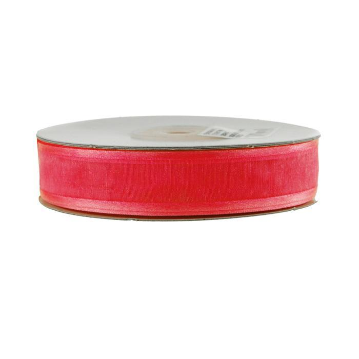 Satin-edge Sheer Organza Ribbon, 7/8-Inch, 25 Yards, Hot Pink
