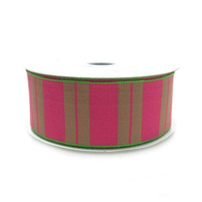 Color Vertical Lines Poly Ribbon, 1-1/2-Inch, 10 Yards, Hot Pink