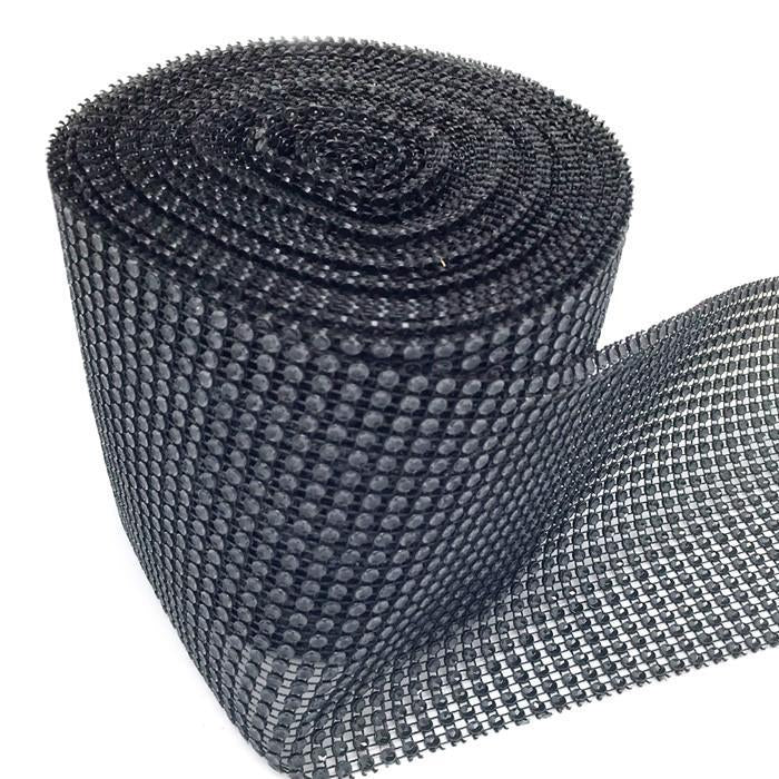 Rhinestone Diamond Wrap Ribbon, 4-3/4-Inch, 10 Yards, Solid Black