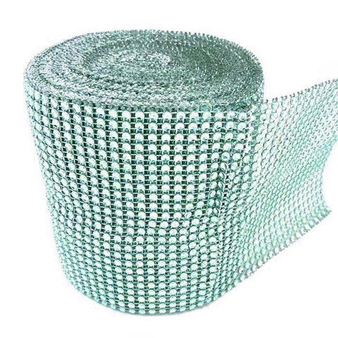 Rhinestone Diamond Wrap Ribbon, 4-3/4-Inch, 10 Yards, Aqua
