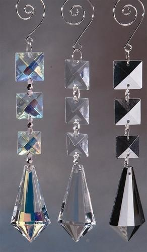 Acrylic Chandelier Crystals, Icicle Link, 7-Inch, Iridescent Clear