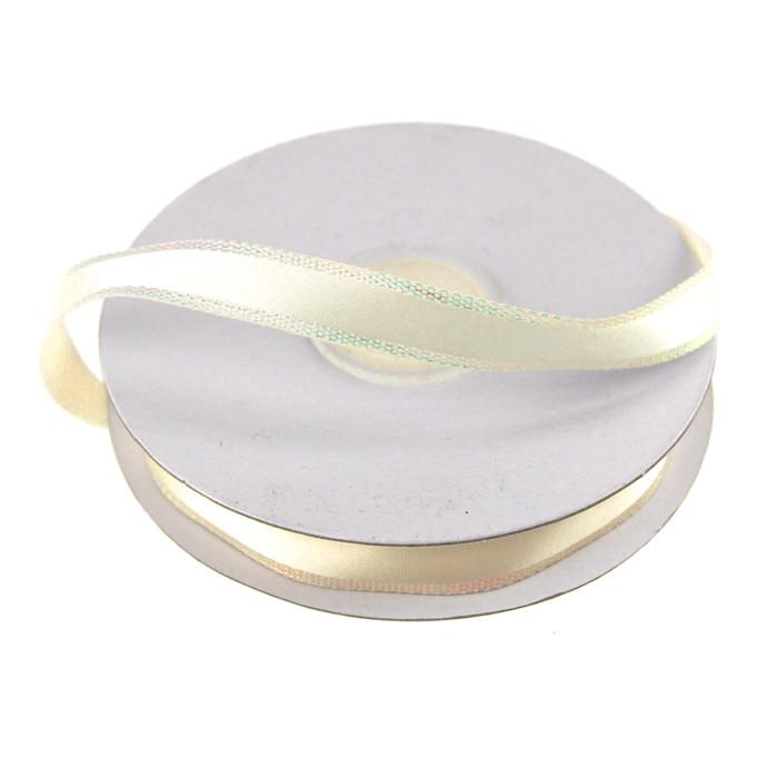 Satin Ribbon with Iridescent Edge, 3/8-Inch, 25 Yards, Ivory
