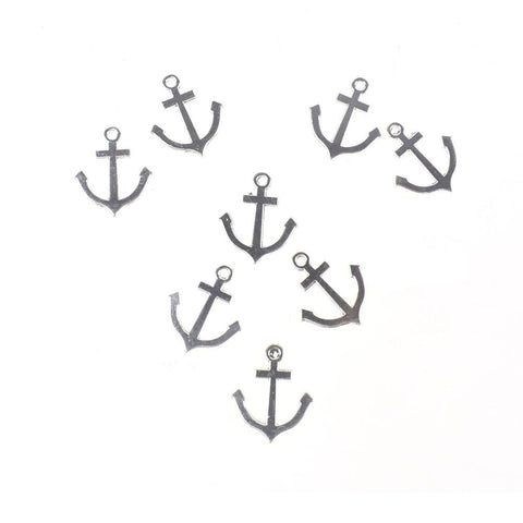 Anchor Metal Charms, Silver, 1-Inch, 8-Piece
