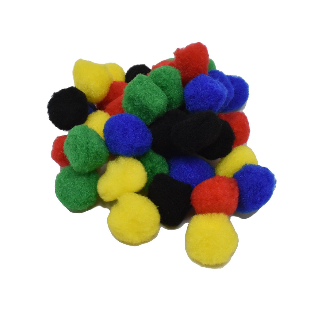 Small Fuzzy Craft Pom Poms, Primary Colors, 1-1/4-Inch, 40-Piece