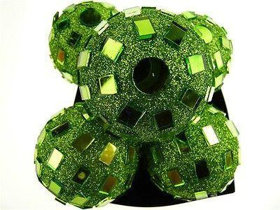 Glitter Disco Ornament Balls, 2-1/4-inch, 6-Piece, Apple Green