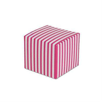 Striped Mini Paper Boxes, 2-inch, 12-Piece, Hot Pink/White
