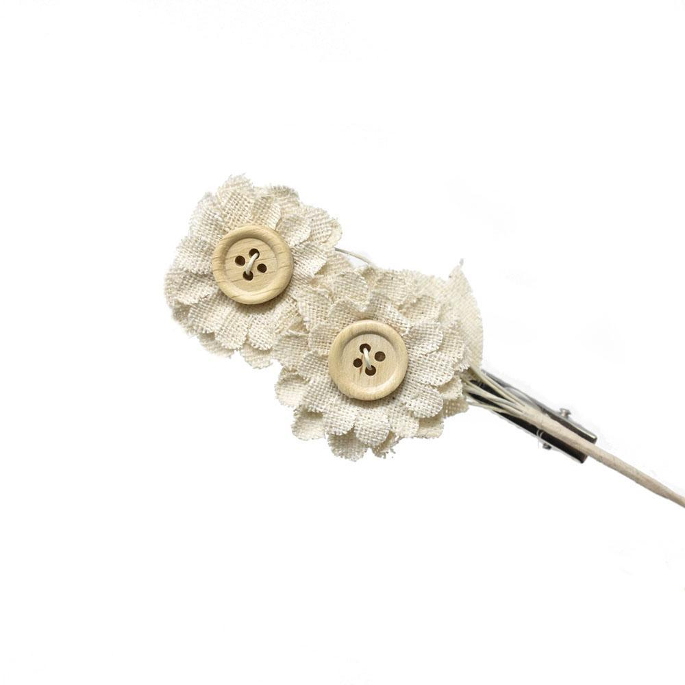 Mini Flower Button Pick with Clip, Neutral, 5-Inch