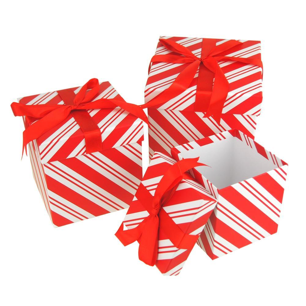 Candy Cane Stripe Nested Holiday Christmas Gift Boxes, 5, 6 and 7 ...