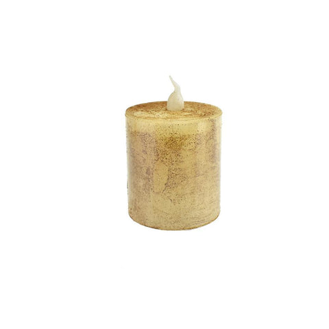 Battery Operated LED Votive Candle with Built-In Timer, Tan, 2-1/4-Inch