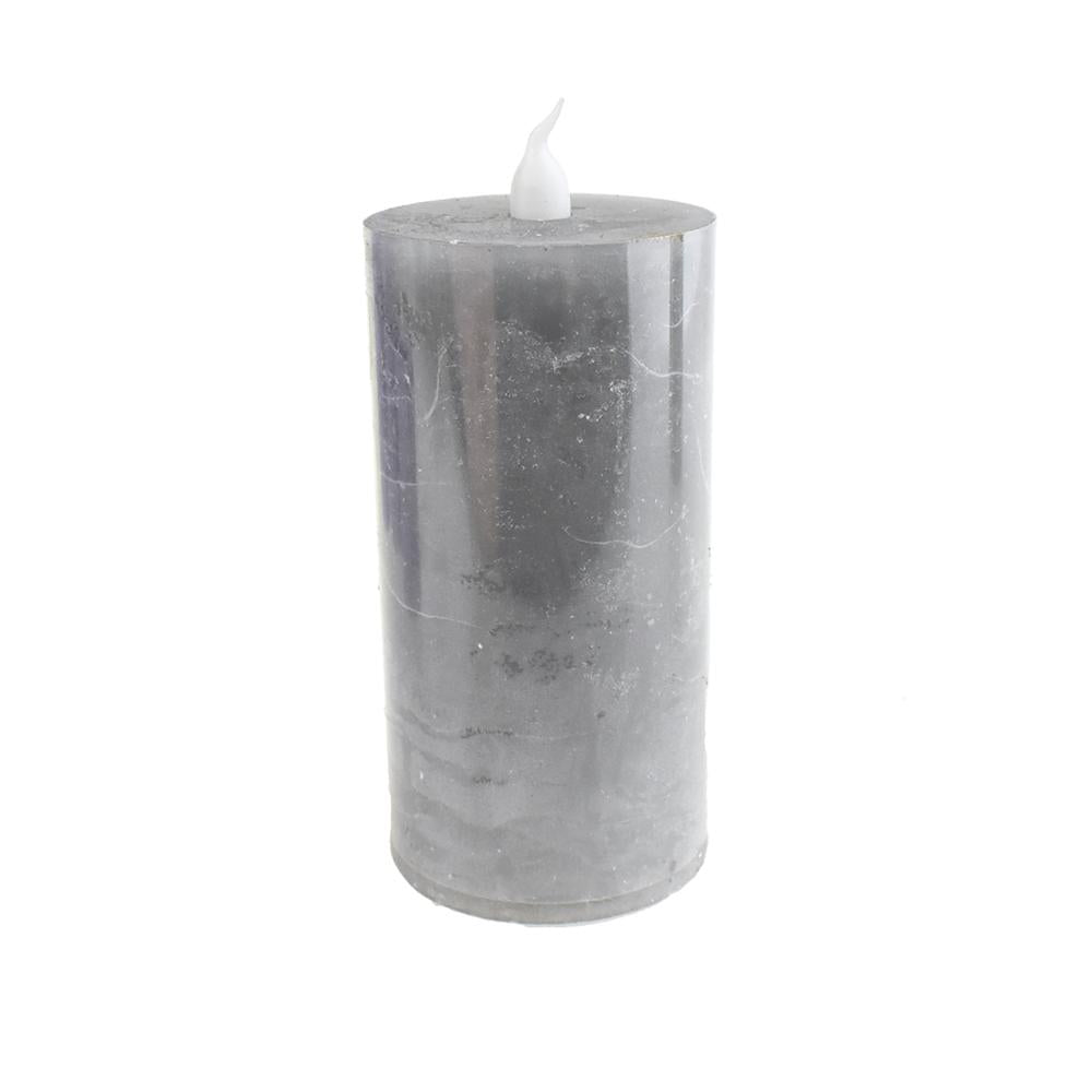 Battery Operated LED Votive Candle with Built-In Timer, Grey, 4-Inch