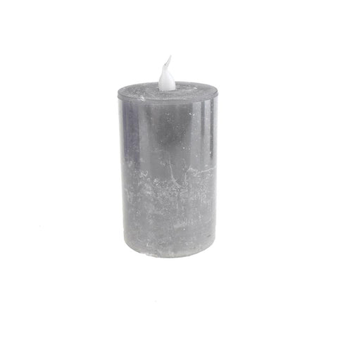 Battery Operated LED Votive Candle with Built-In Timer, Grey, 3-Inch