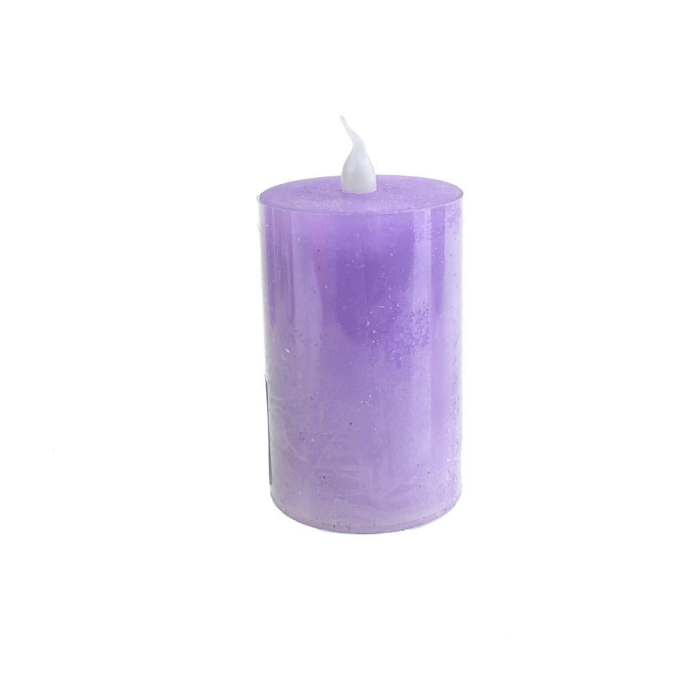 Battery Operated LED Votive Candle with Built-In Timer, Lilac, 3-Inch