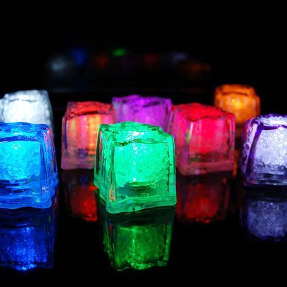 LED Ice Cubes Waterproof Submersible, 12-Piece, Multi-color
