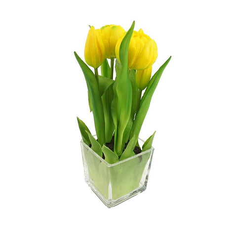 Artificial Tulip in Glass Vase Home Accent, 9-Inch, Yellow