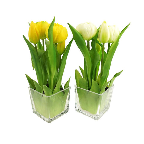 Artificial Tulip in Glass Vase Home Accent, 9-Inch