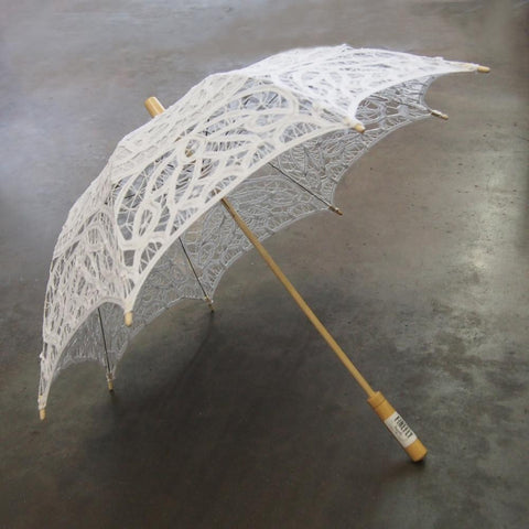 Vintage Crochet Lace Wedding Parasol, White, 24-Inch