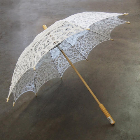 Vintage Crochet Lace Wedding Parasol, White, 32-inch