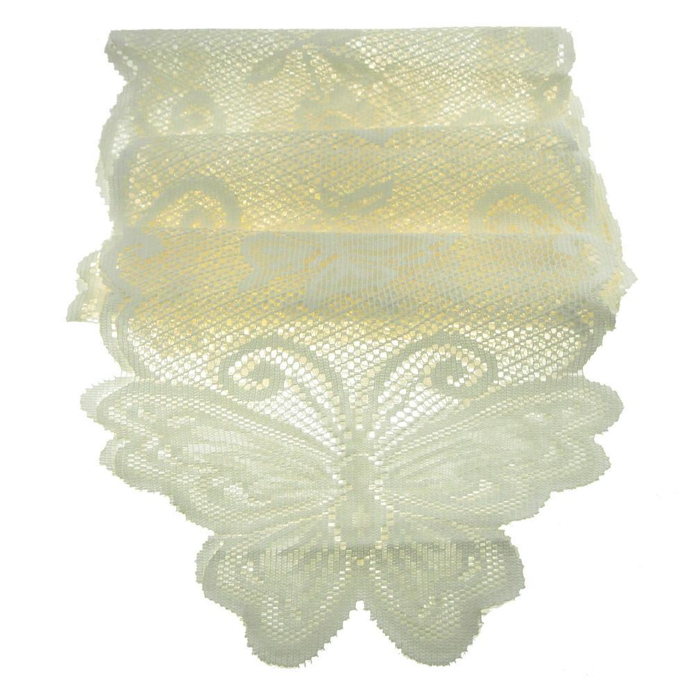 Butterfly Lace Table Runner, 13-Inch, 8-Feet, Ivory