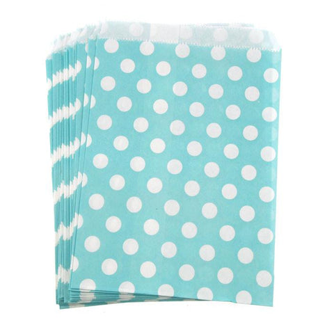 Large Dots Paper Treat Bags, 7-inch, 25-Piece, Light Blue