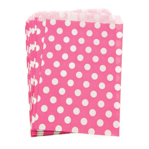 Large Dots Paper Treat Bags, 7-inch, 25-Piece, Hot Pink