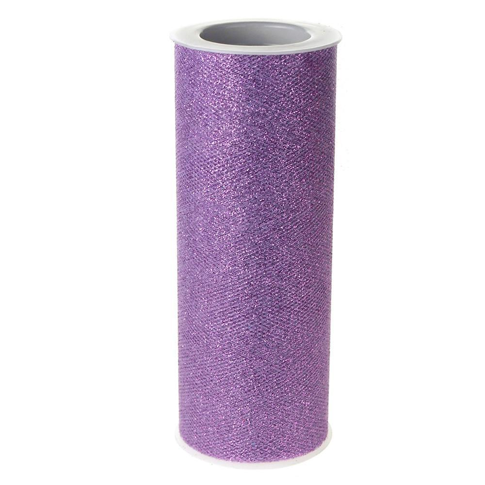 Glitter Tulle Spool Roll, 6-Inch, 10 Yards, Lavender