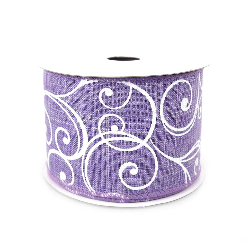 Stylish Swirl Canvas Ribbon, 2-1/2-inch, 10-yard, Lavender